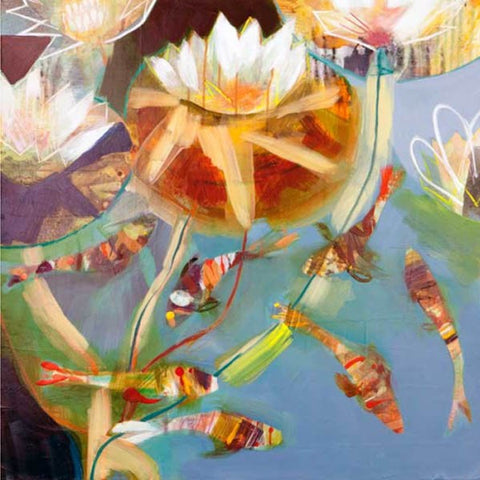 Becky Blair 'Copper Lillies' Ltd ed giclee print framed