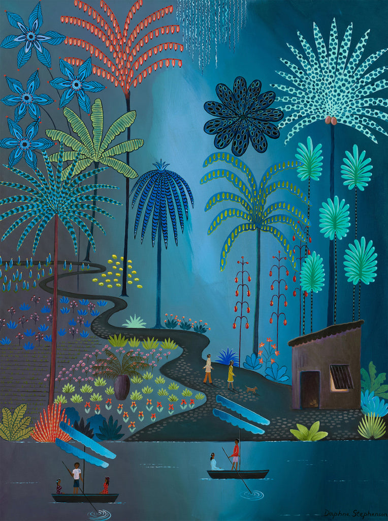 Jungle pathway scene in deep blues and multi-coloured foliage by Daphne Stephenson at Iona House Gallery