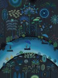 Daphne Stephenson ' Blue Jungle River' unframed limited edition print 120x90cms