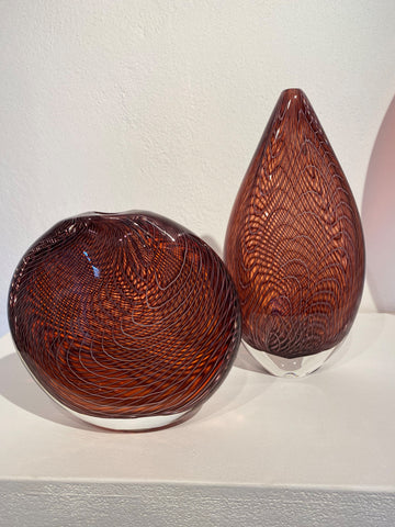 Bob Crooks 'Lineweaver Pair: Peach Melba' glass