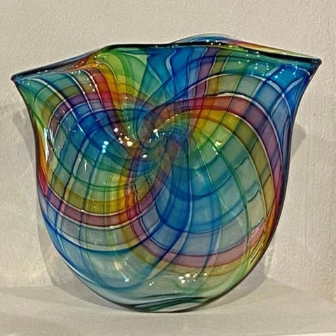 Bob Crooks 'Pi bowl Spectrum' glass H29cm x W37cm x D8cm