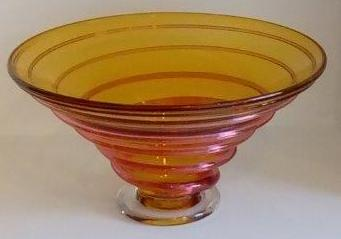 Bob Crooks handmade amber glass vase available to buy at Iona House Gallery