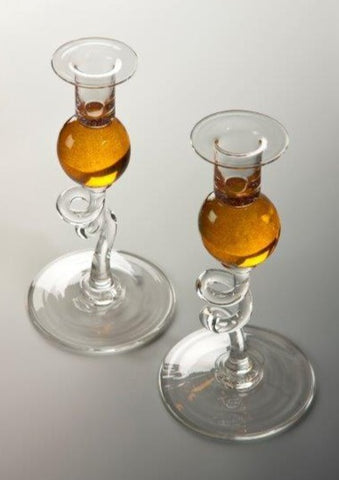 Bob Crooks Pair of Amber Glass Candlesticks