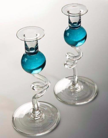 Bob Crooks Pair of Turquoise Glass Candlesticks