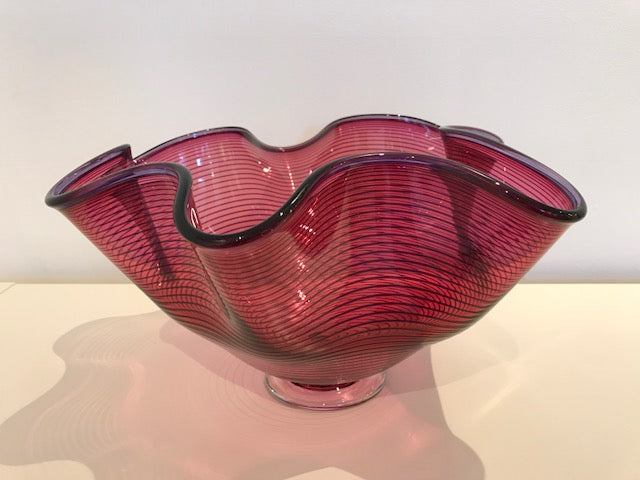 Bob Crooks 'Large Venetian Bowl' glass (red) H19.5cm W36cm