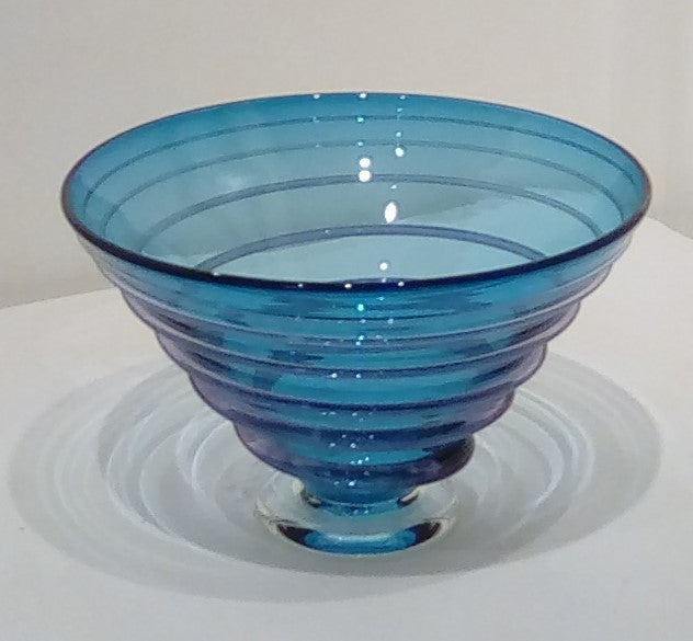 Bob Crooks 'Spiral Bowl' blue glass