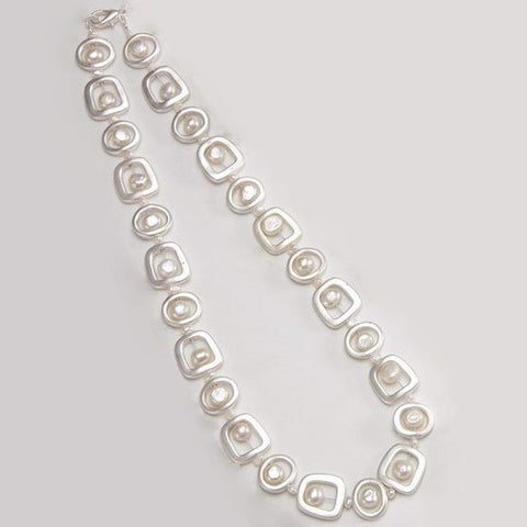 Brushed Steel and Freshwater Pearl Necklace