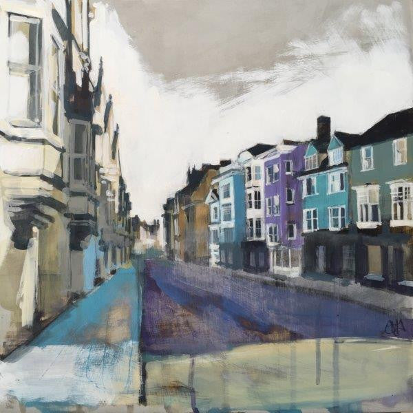 Camilla Dowse 'High Street Low Sun II (Oxford High Street)' acrylic on gesso 30x30cm
