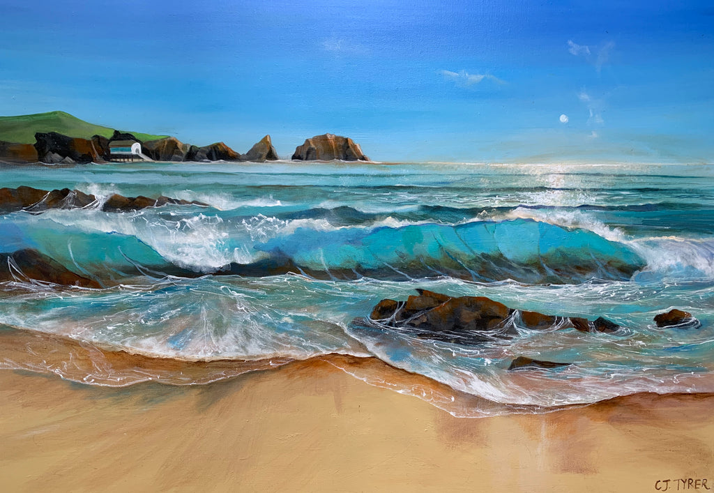 Vibrant seascape of waves and rocks by Carolyn Tyrer at Iona House Gallery