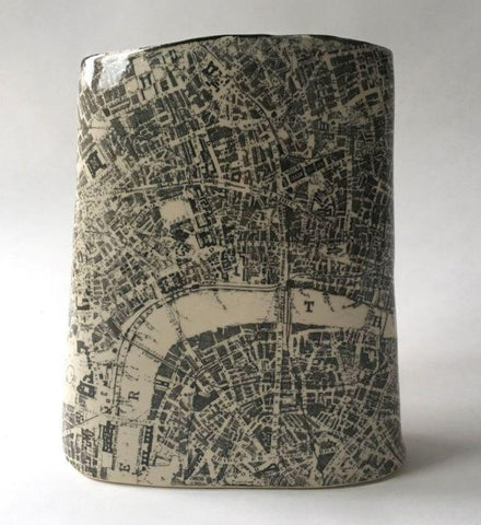Cat Santos 'London Map' printed stoneware 23x19x12cm