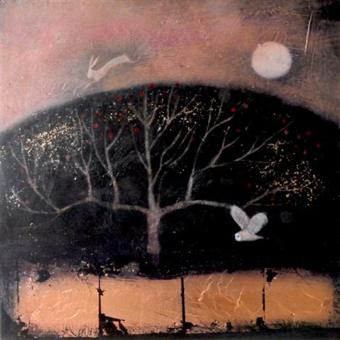 Catherine Hyde 'Along the river's borders' acrylic on canvas with copper and gold leaf 61x61cm