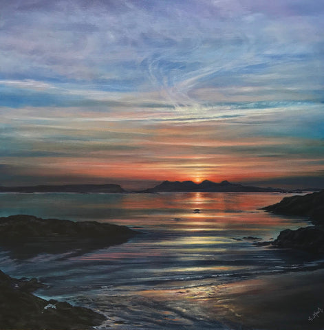 Catriona MacEachen 'Sunset From Arisaig'  Acrylic on Canvas 80cm x 80cms