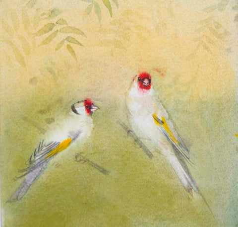 Claire Harkess 'Goldfinches in Rowan' watercolour 20x20cm