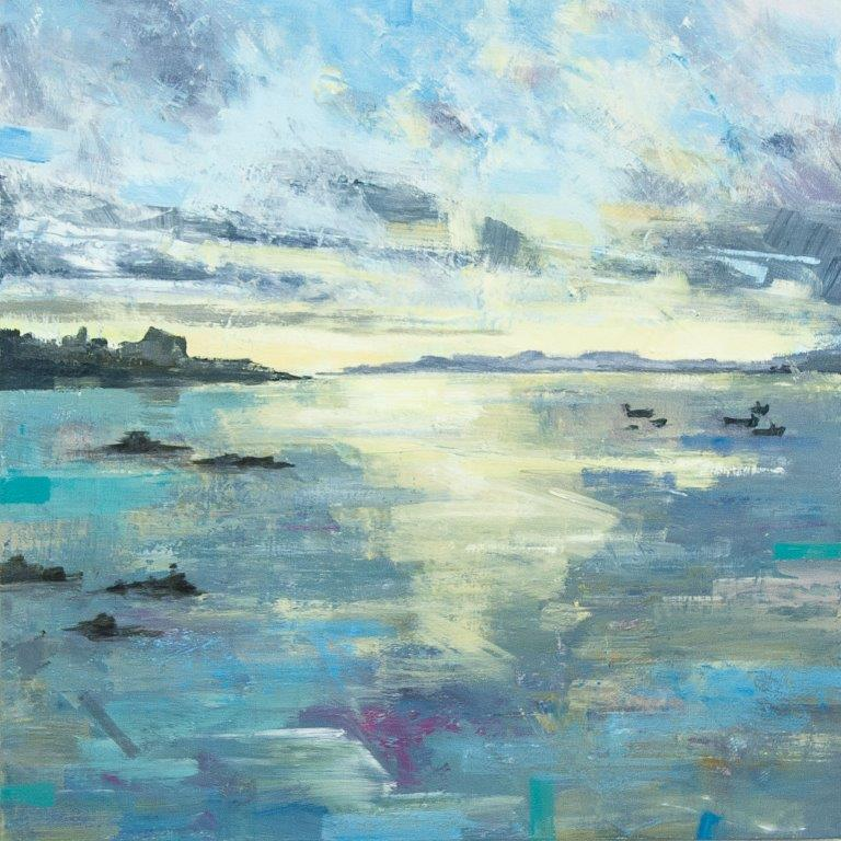 Clive Patterson 'Distant Shores' acrylic on board 40x40cms original artwork