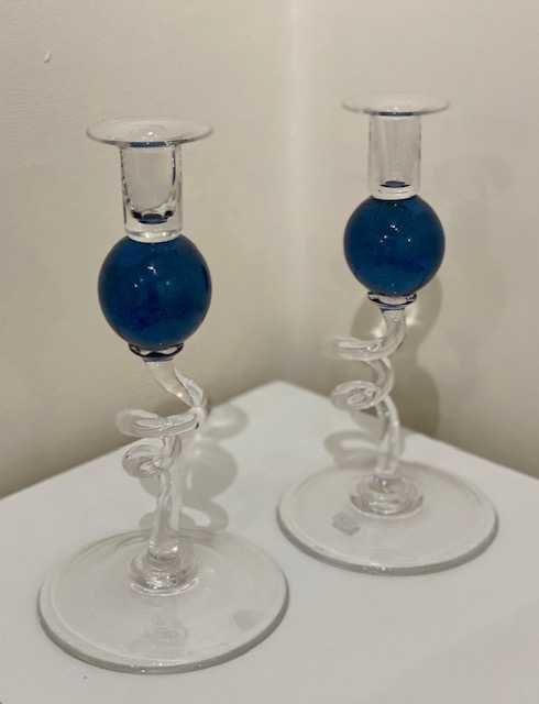 Bob Crooks Pair of Dark Blue Glass Candlesticks