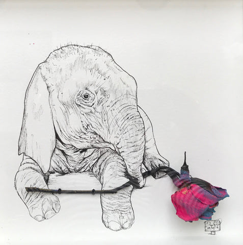 Damilola Odusote 'Baby Elephant and Pink Rose' dried flower, sand and ink on paper 22x22cm