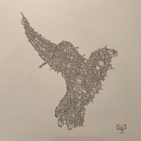 Damilola Odusote 'Bird Map' Ink on paper 23x23cms £660