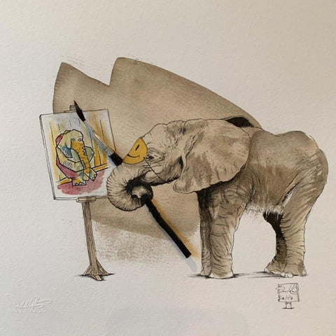 Damilola Odusote 'Elephant Artist' Real dried flower and ink on paper 23x23cms