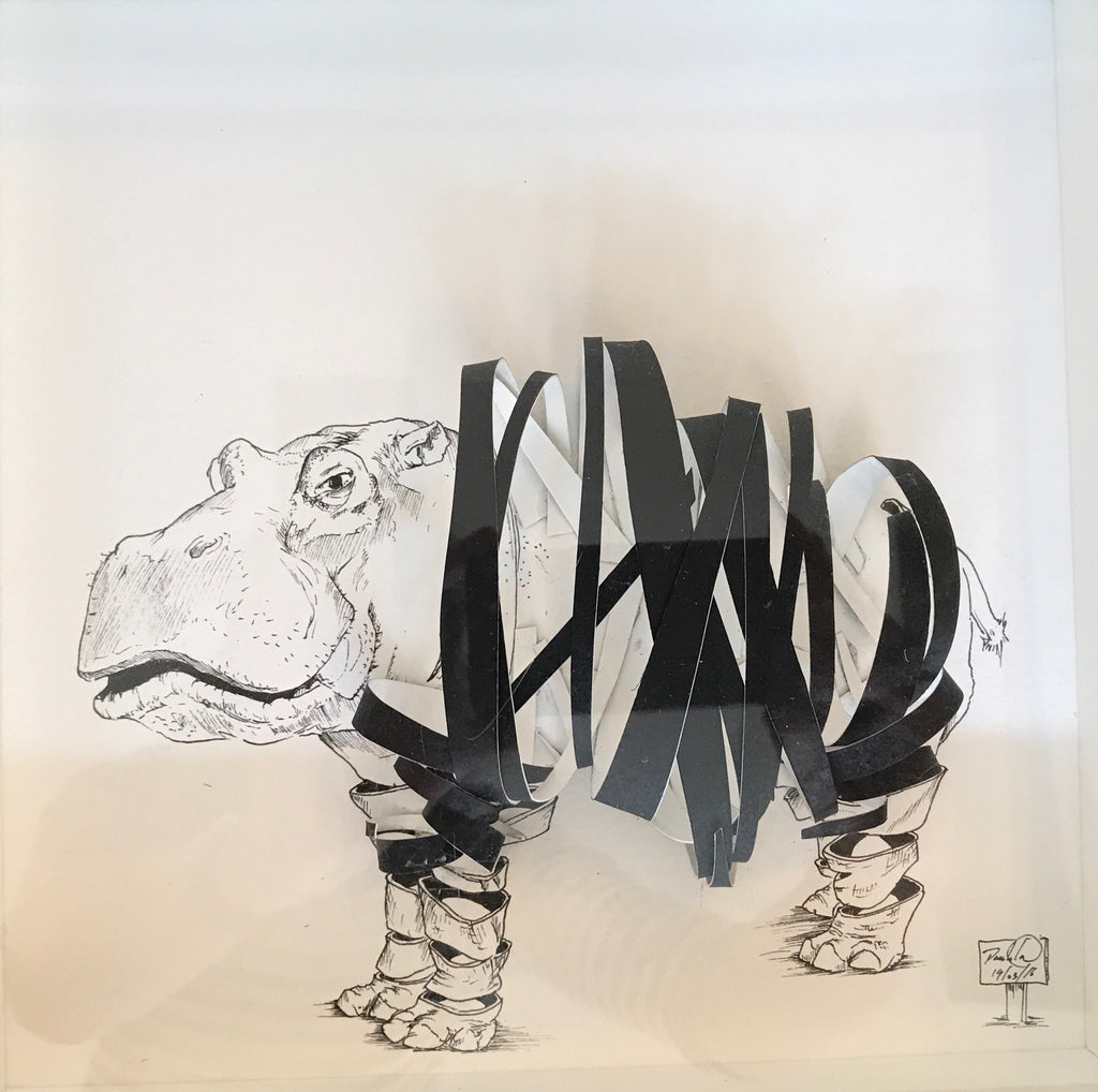 Damilola Odusote 'Ribbon Hippo' paper art and ink on paper 22x22cms