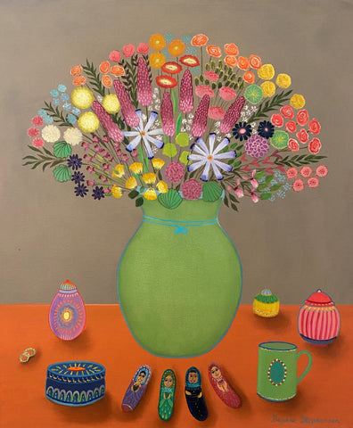 Daphne Stephenson 'Flowers and Trinkets' oil on canvas 60x50cm