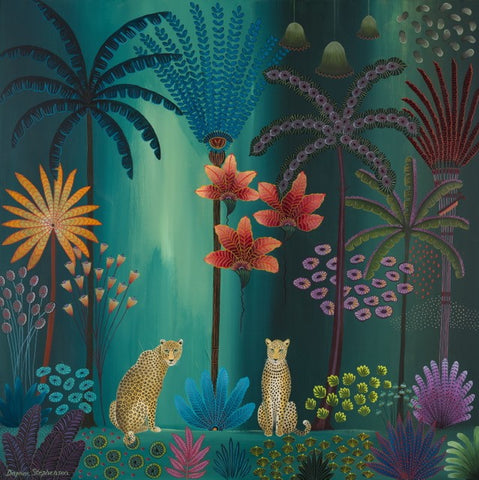 Daphne Stephenson 'Twilight Jungle Paradise' unframed limited edition print 110x110cm