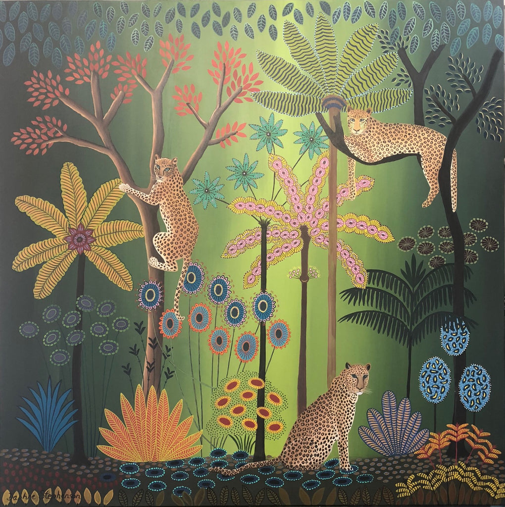 Jungle scene with leopards print by Daphne Stephenson at Iona House Gallery