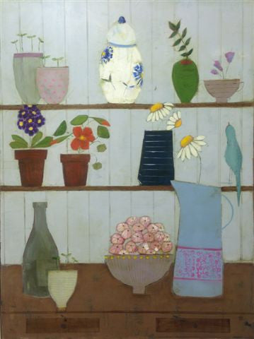 Eithne Roberts 'Songbird and Flower Pots' oil on canvas 80x60cm