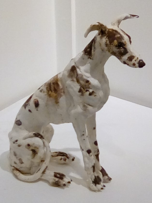 Original porcelain ceramic Lurcher dog by Elaine Peto at Iona House Gallery