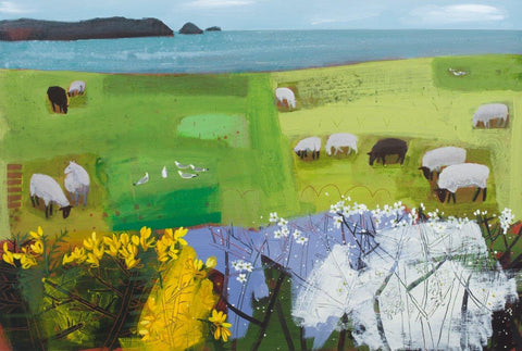 Emma Dunbar 'Cornish Sheep' acrylic on board 61x91cm