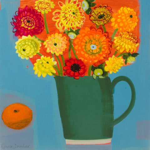 Emma Dunbar 'Dahlias, One Red Zinnia and a Tangerine' acrylic on board 30x30cm