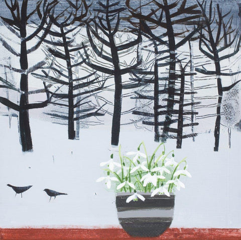 Emma Dunbar 'Snowdrops and Blackbirds on a Snowy Day' acrylic on board 30x30cm