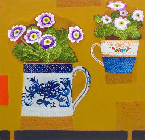 Emma Dunbar 'Two Primulas on Yellow' acrylic on board 30x30cm