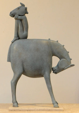 Eoghan Bridge 'Horse Play' ceramic 54cms H