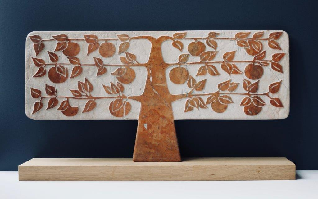 Michael Disley Large espalier orange tree original sculpture marble