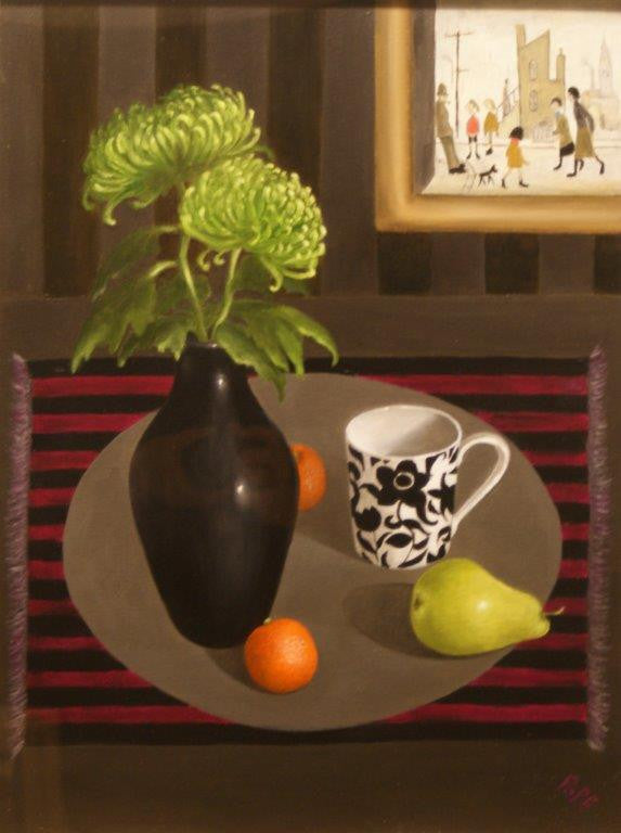 Gail Pope 'Lowry and Green Chrysanthemums' oil on board 60x40cm