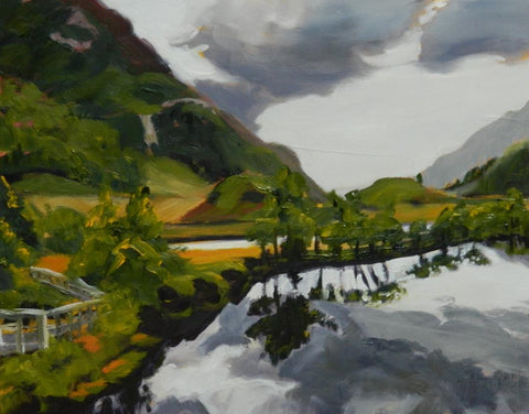 Gail Wendorf 'Boiling Reflections, Callup River' oil on board 28x36cms