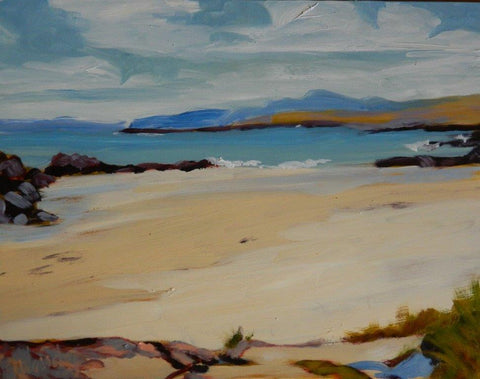 Gail Wendorf 'Low Tide, West Beach, Iona' oil on board 28x36cm