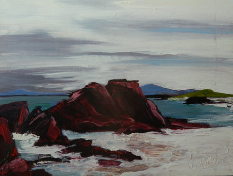 Gail Wendorf 'North Beach, Iona III' oil on board 23x31cms