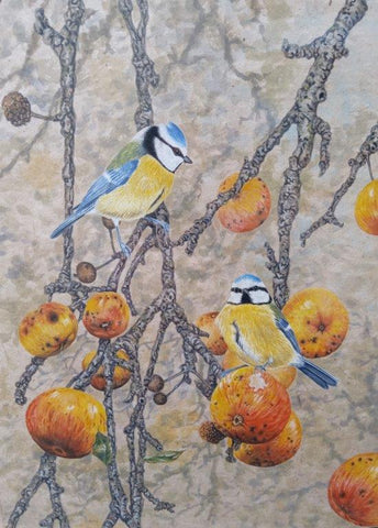 Gary Woodley 'Blue Tits' 58x48cm Gouache on Indian grass paper