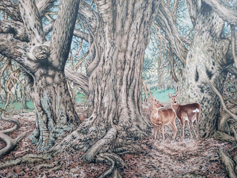 Gary Woodley 'Roe Deer' 70x90cm oil on canvas