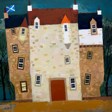 George Birrell 'Castle Merry' oil on board 41x41cm