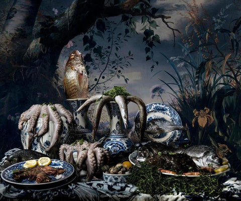 Hans Withoos 'Fish Still Life in Delftware' ltd ed photograph 1 of 9 102x120cm