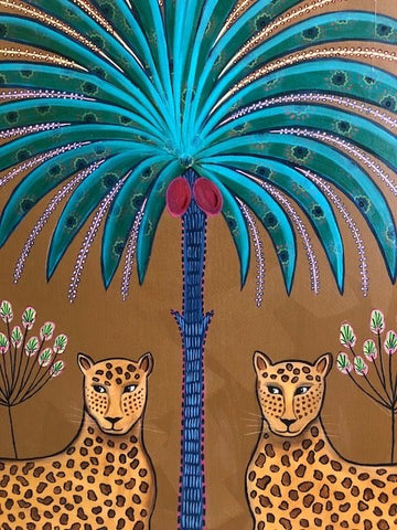 Daphne Stephenson ' Happy Leopards' unframed limited edition print 75x75cms