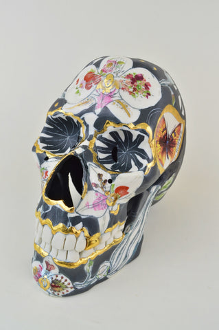 Helen Nottage 'Black skull with Orchids' (HN70) porcelain