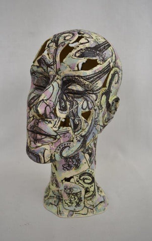 Helen Nottage 'Female Head - Purple & Teal' earthenware sculpture, screen printed H32cm