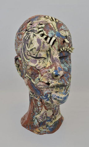 Helen Nottage 'Female Head Purple' earthenware, terracotta and white paperclay