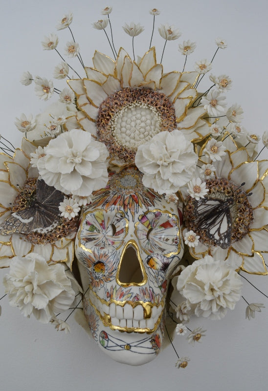 Human skull with floral decoration by Helen Nottage at Iona House Gallery