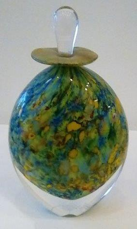 Peter Layton 'Klimt Pointillist' perfume bottle glass 20cms