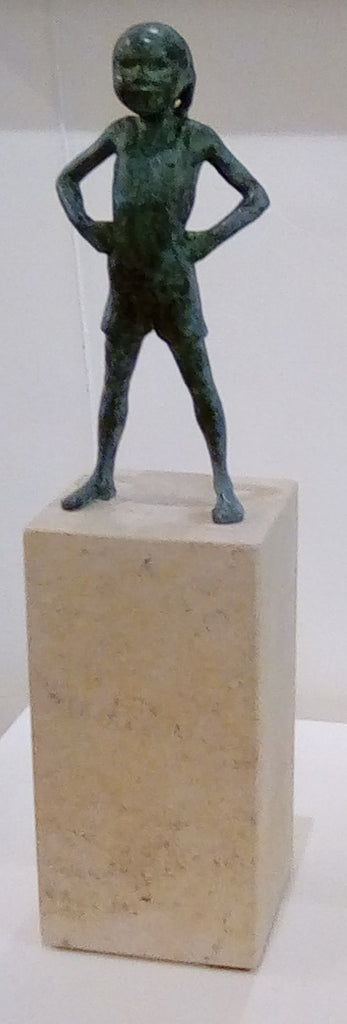 Alison Bell 'On the Warpath' bronze on Ancaster stone H44xW10xD10cms