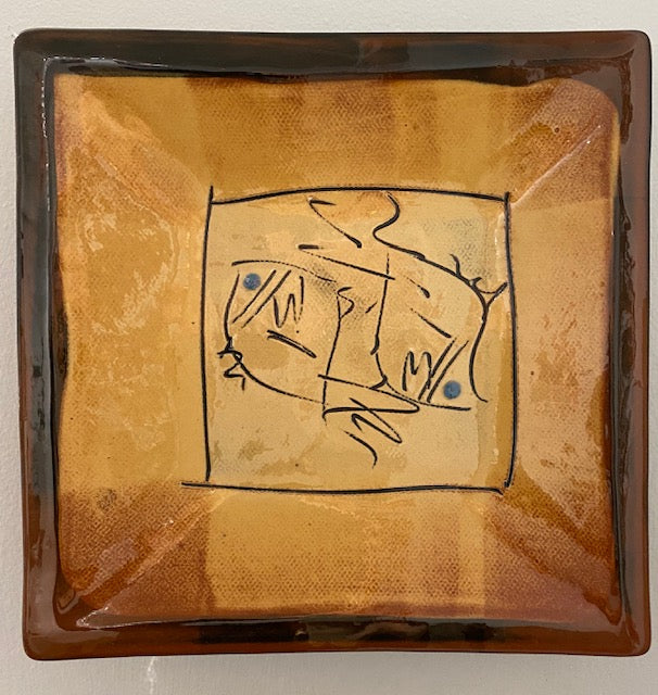 Françoise Dufayard 'Square wall plate' ceramic 18cms Square x 4.5D